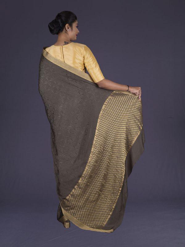 Brown Crepe Silk Saree