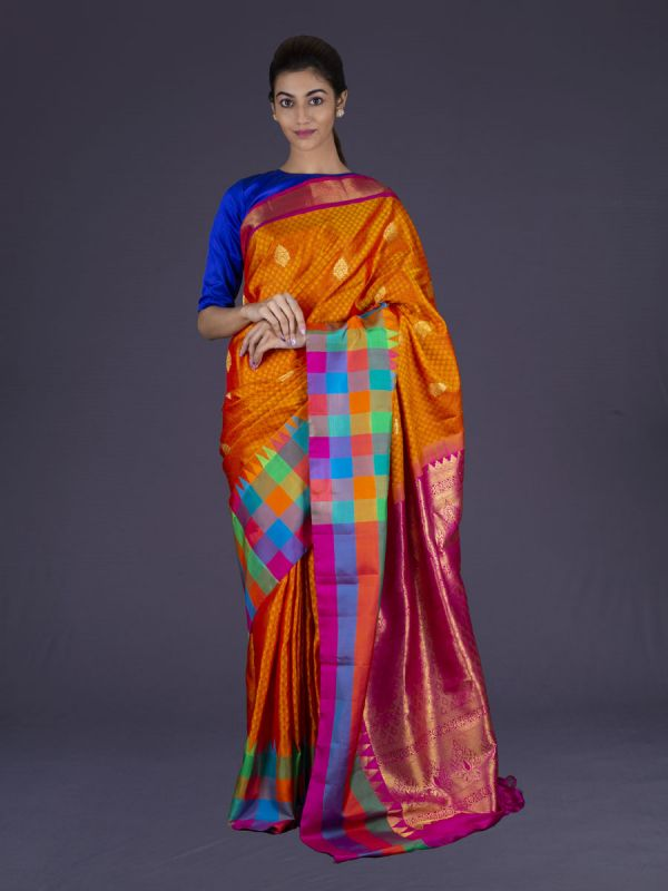 Orange With Magenta Pink Kanjivaram Silk Saree