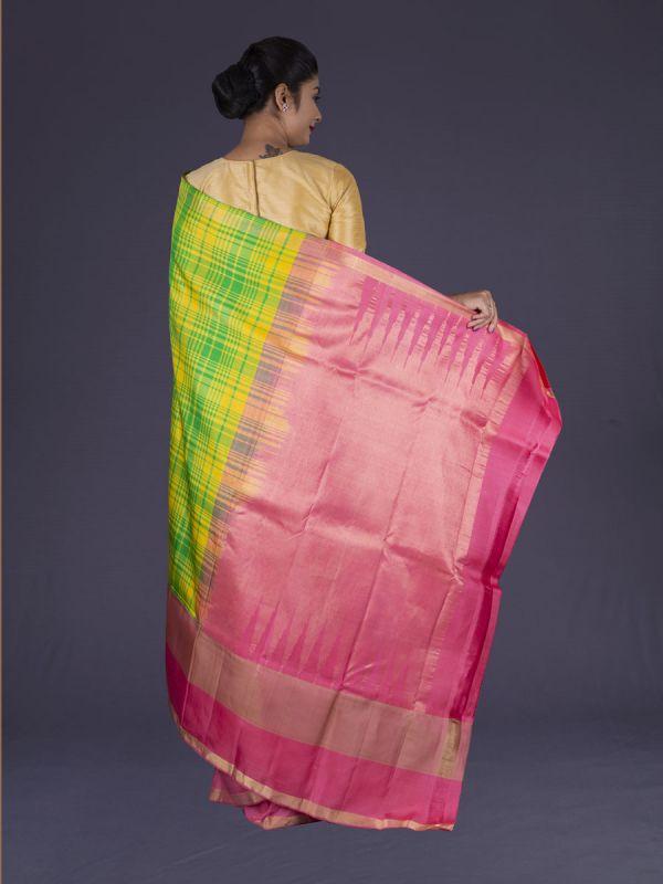 Yellow With Parrot Kanjivaram Silk Saree