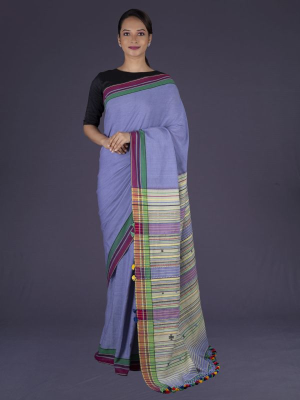 Lavender Organic Handloom Cotton Saree