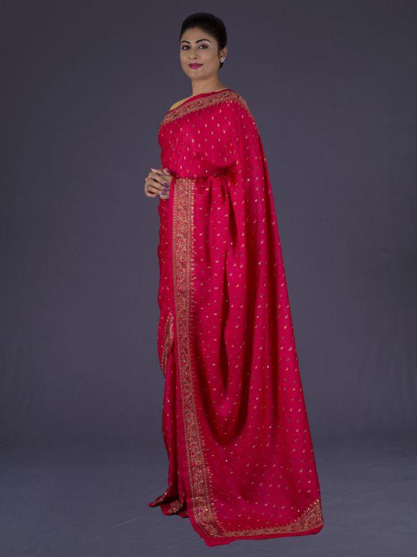 Red Tussar Silk Saree