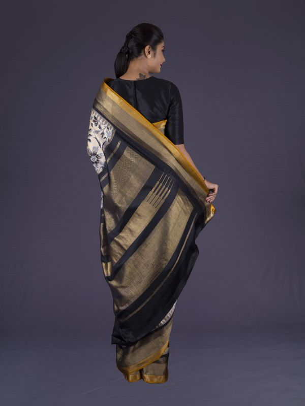 Cream Kanjivaram Silk Saree