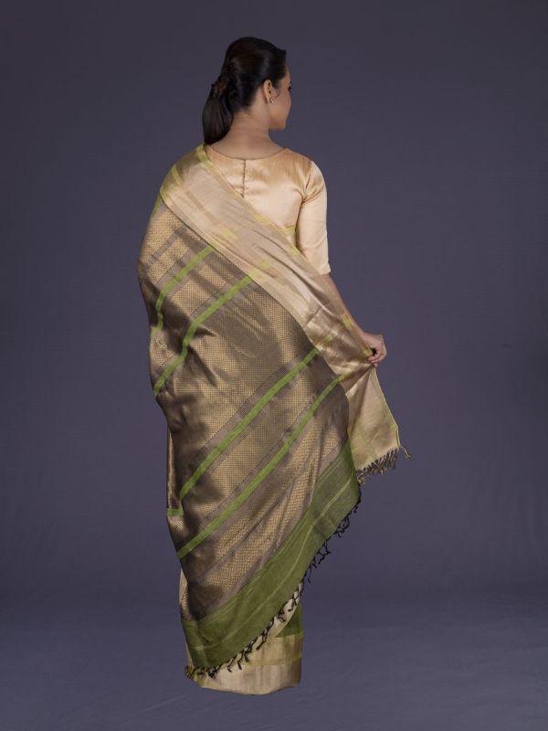 Mehandi Green With Beige Jute Silk Saree