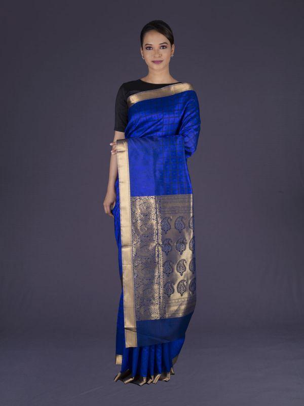 Royal Blue Cotton Silk Saree
