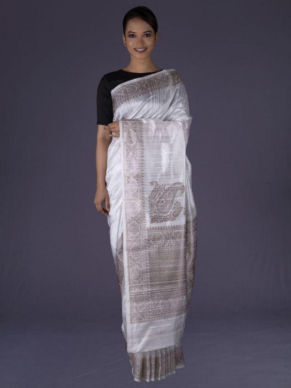 Off White Raw Silk Saree