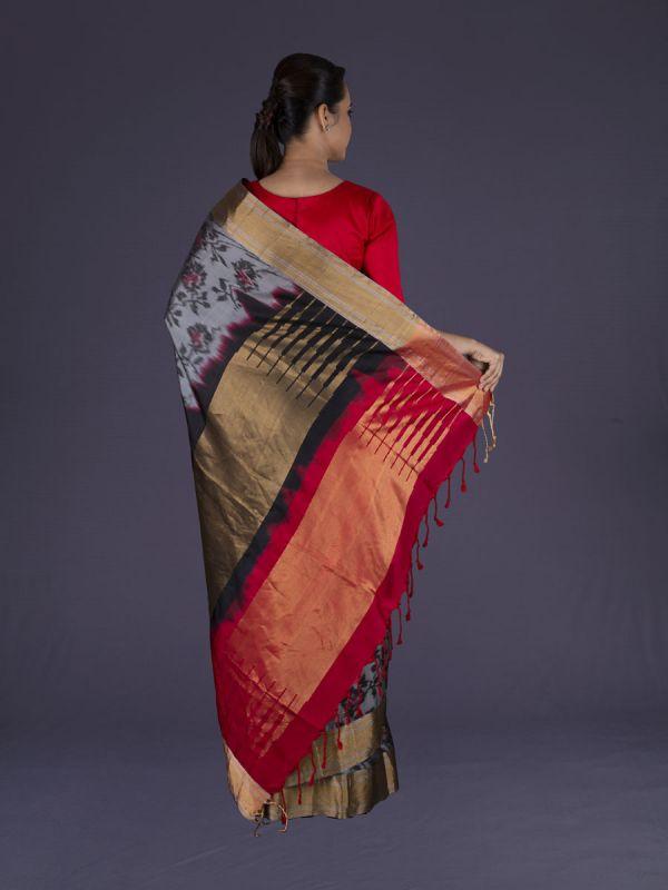 Grey Dharmavaram Silk Saree