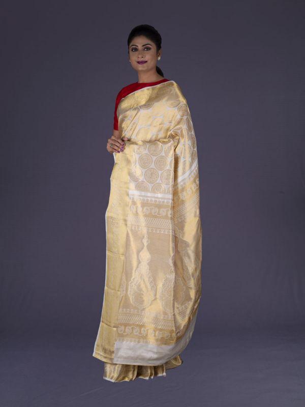 Cream Kanjivaram Silk Saree
