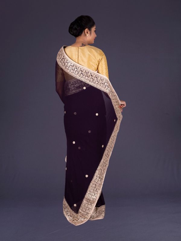 WINE GEORGETTE SAREE