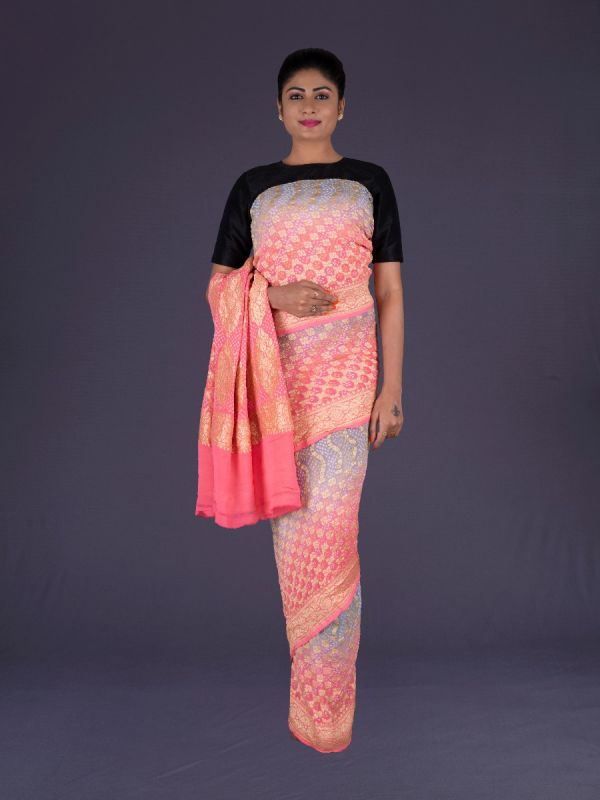 GREY WITH PINK KHADDI GEORGETTE SAREE