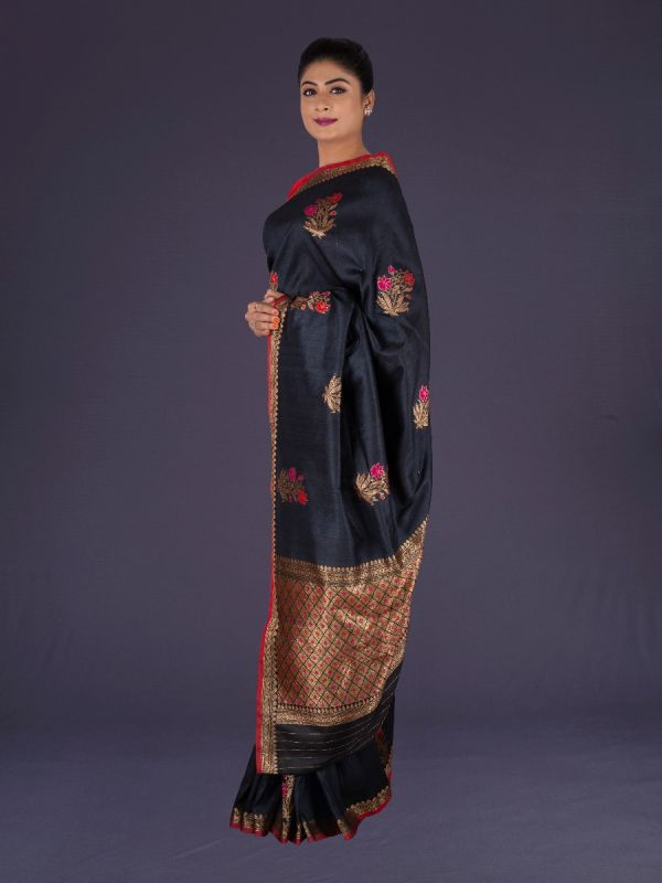 BLACK KHADI TUSSAR SILK SAREE