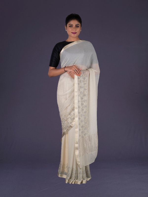 CREAM CHIFFON SAREE