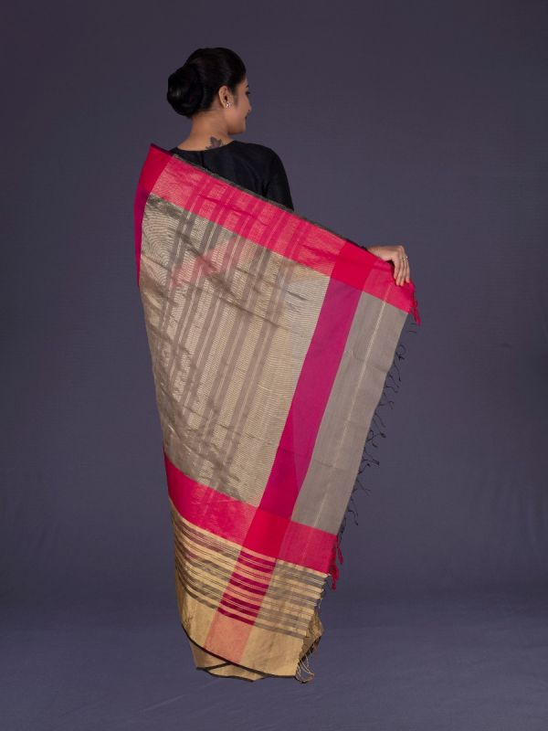 SHORT MEHANDI MAHESHWARI SILK SAREE