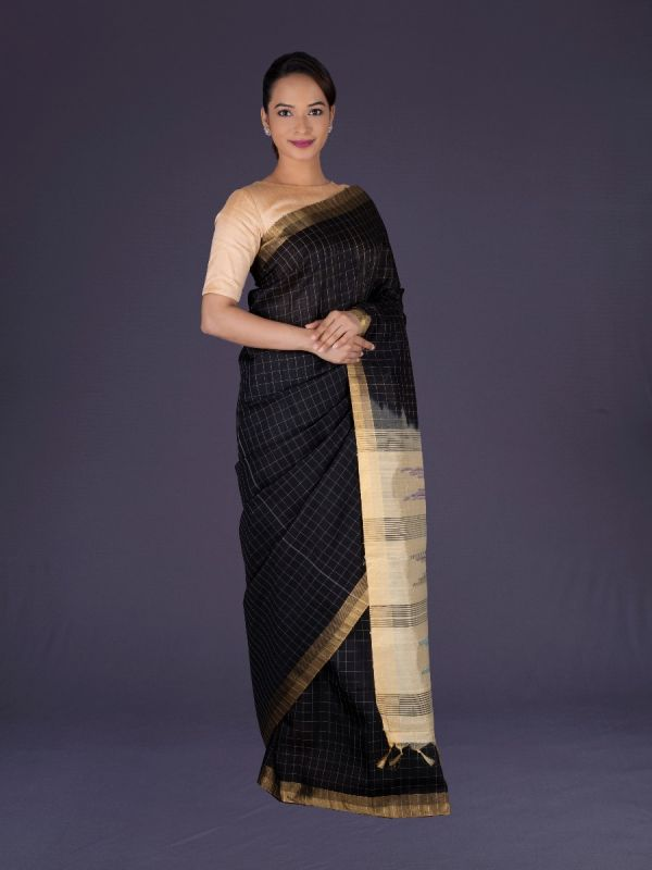 BLACK KHADI SILK SAREE