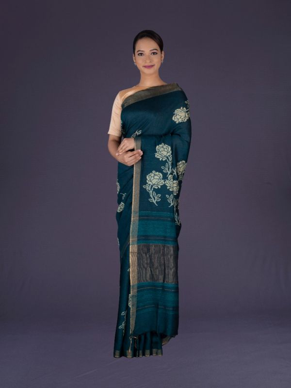 PEACOCK GREEN TUSSAR SILK SAREE
