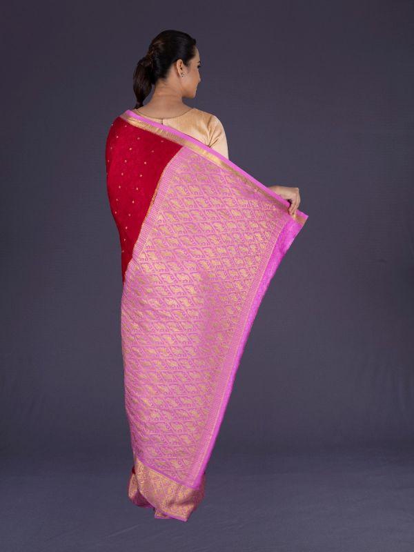 Red Crepe Silk Saree