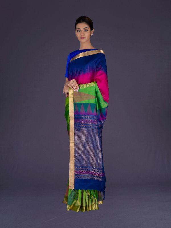 PARROT WITH NAVY BLUE DHARMAVARAM SILK SAREE
