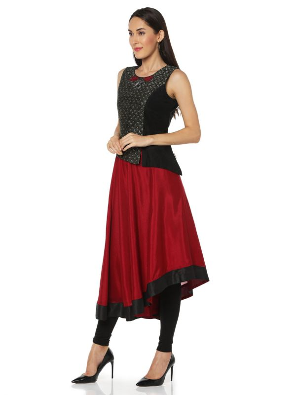 Red & Black Georgette Kurti Attached With Rayon Jacket