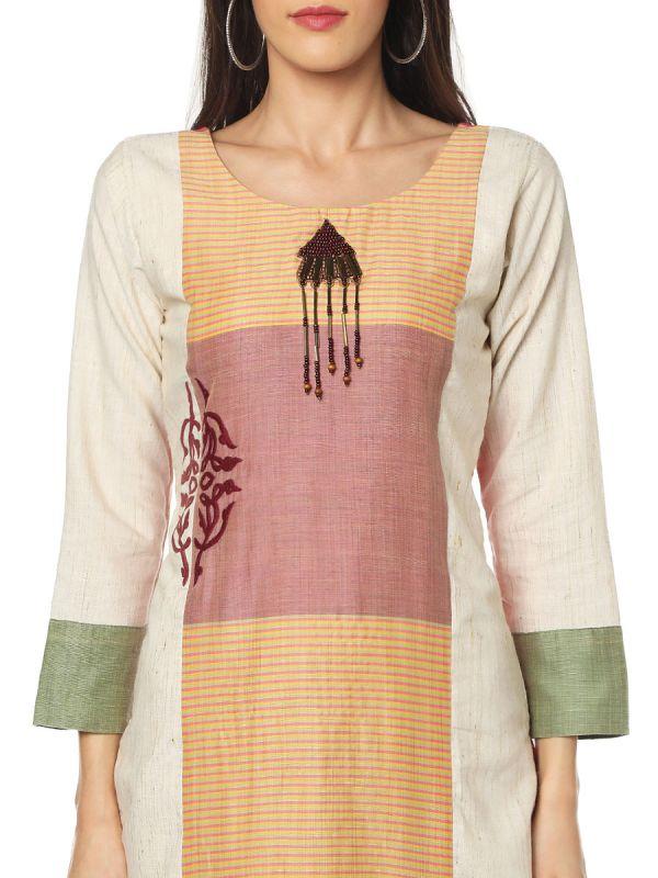 Peach Colour Embroidery Work Multicolour Strips Kurti Along Side Slits