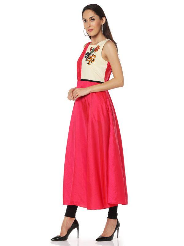 Red Colour Cotton Silk  Desginer Kurti