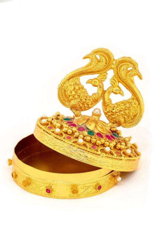 Silver Base Gold Plated With Pearl Work Sindoor Box