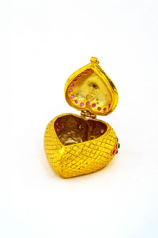 Silver Base Gold Plated With Stone Work Sindoor Box