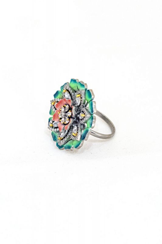 Meenakari American Diamond Finger Ring