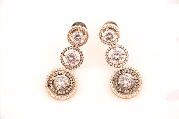 Rose Gold With Black Plated American Diamond Earings