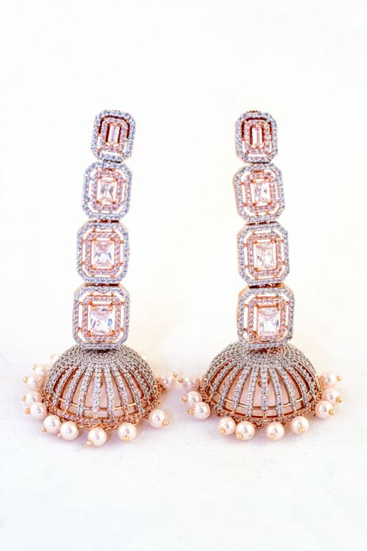 Silver Base Rose Gold With Moti Work Earings