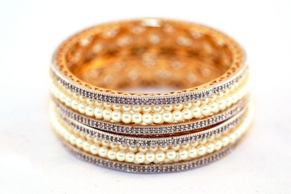 Silver Base Gold Plated With Moti Work Bangles