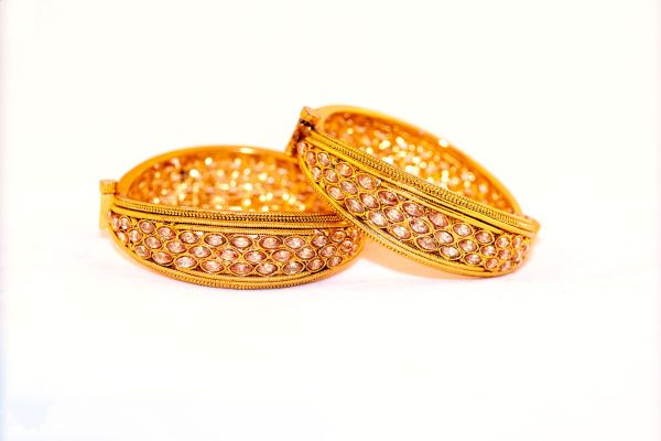 Silver Base Gold Plated Stone Work Bangles
