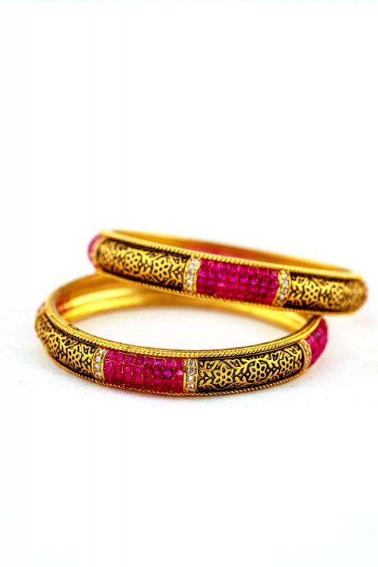 Silver Base Gold Plated Mat Finished Bangles