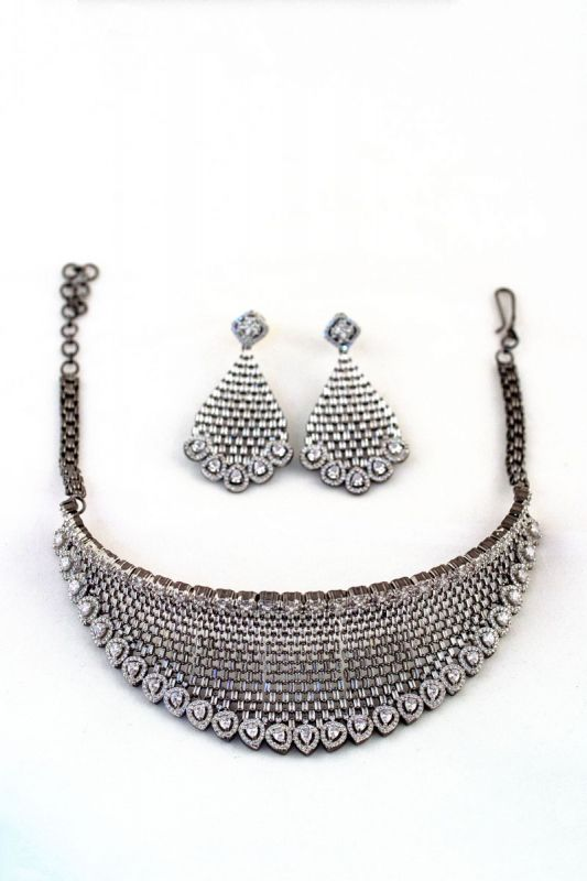 Silver Base Black Plated American Diamond Neckless Set