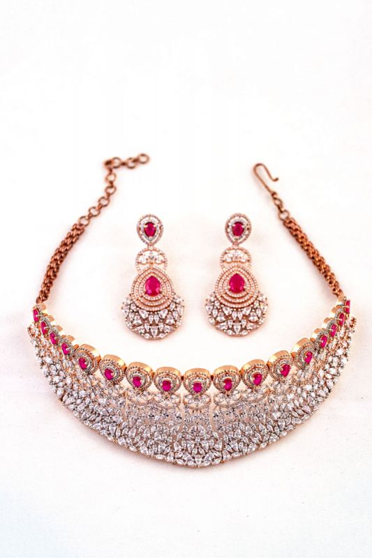 Silver Base Rose Gold Plated Neckless Set