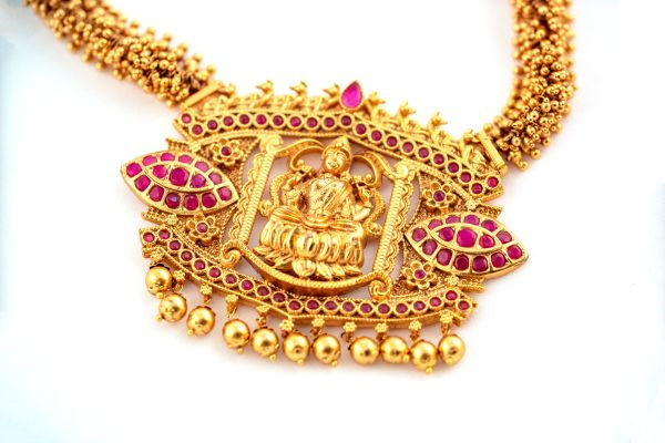 Silver Base Gold Plated Temple Neckless Set