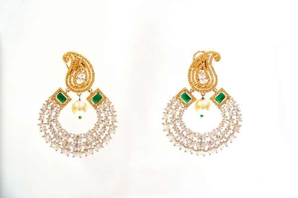Silver Base Gold Plated American Diamond With Moti Earings