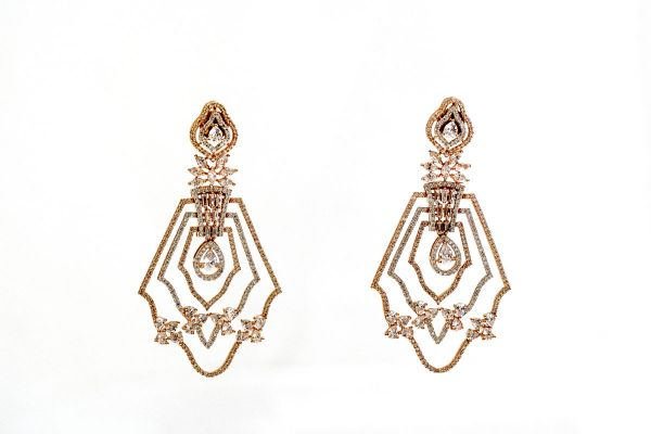 Silver Base Gold Plated American Diamond Earings