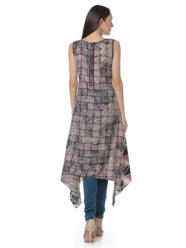 High- Low Type Art Silk Multicolour Kurti