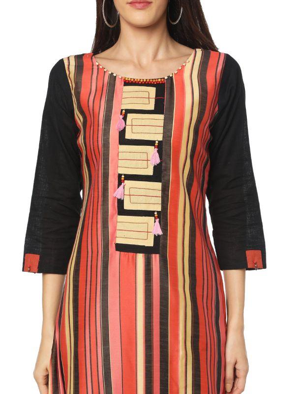 Black Colour Embroidery Rayon Multicolour Strip Along Side Cut Kurti