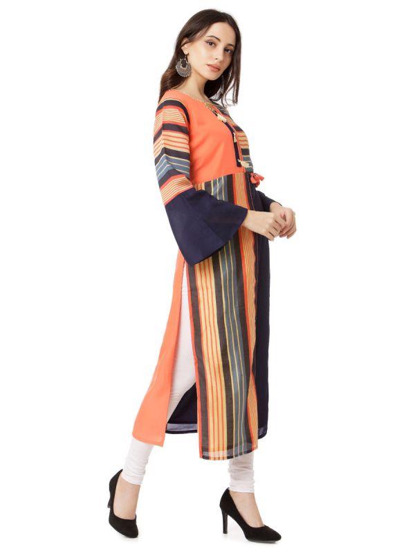 Navy Blue & Peach Colour Embroidery  Multicolour Strips Straight Kurti