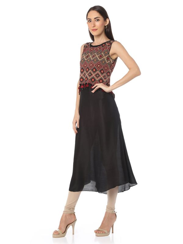 Black Colour Cotton Silk Kurti With Pasmina Effect
