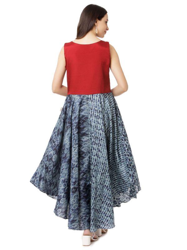 Red & Grey A-Line Party Wear Desginer Kurti