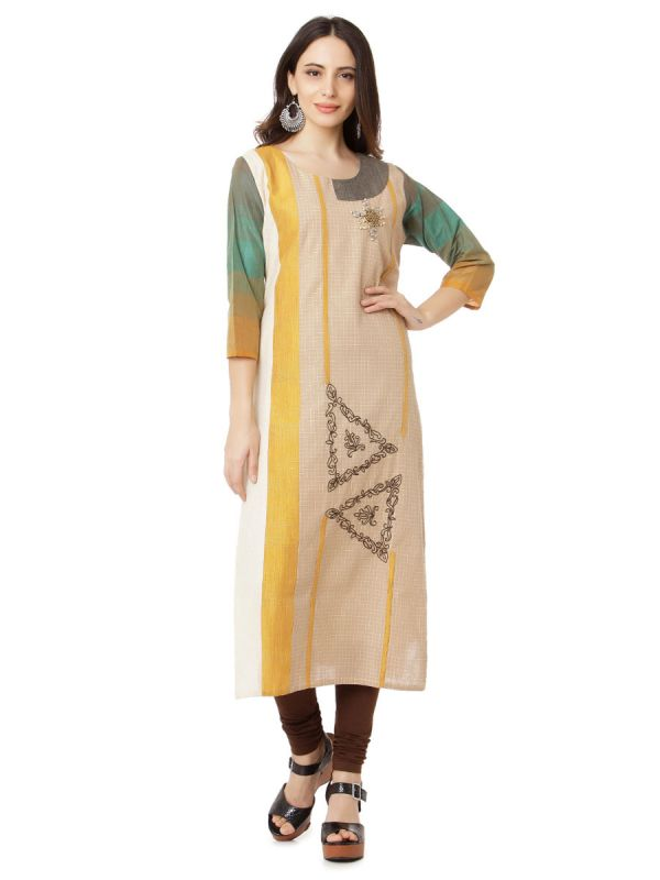 Casual Beige Colour Embroidery Multicolour Strips Kurti Along Side Slits