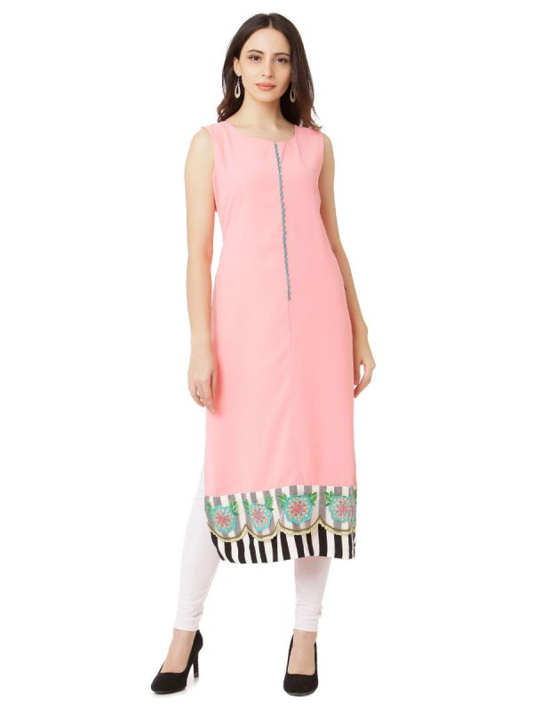 Plain Baby Pink Colour Embroidery Straight Kurti