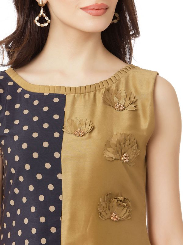 Black & Beige Colour Cotton Silk  Party Wear Desginer Kurti