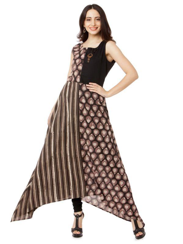 Brown Colour A Line Party Wear Weaving Kurti