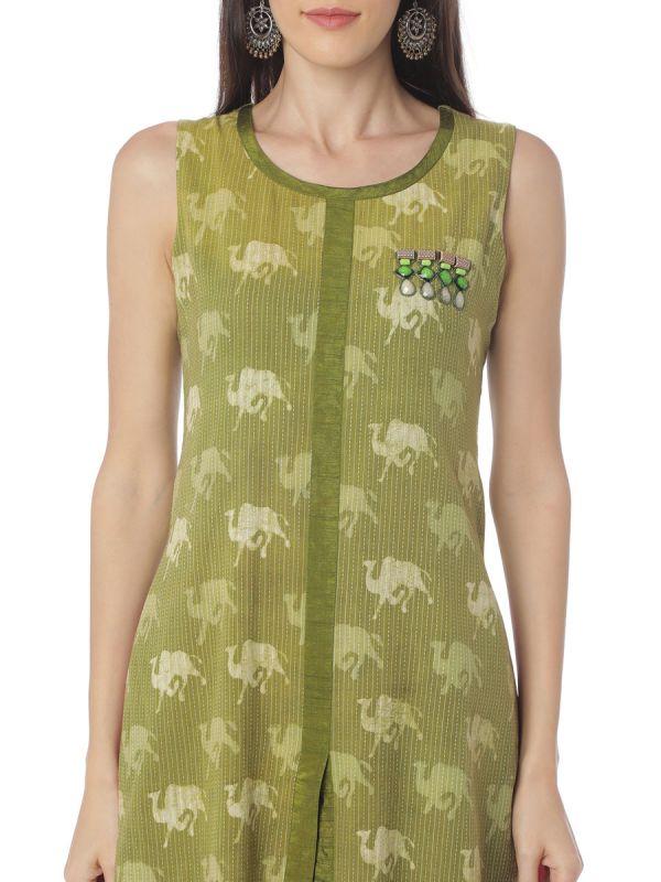 Green Colour Animal Print A Line Kurti Along With Chiffon Kali
