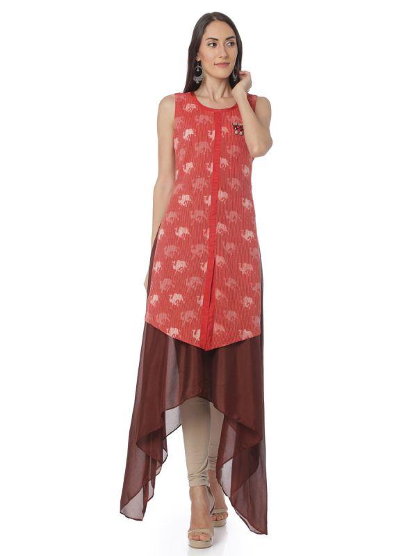 Red Colour Animal Print A Line Kurti Along With Chiffon Kali