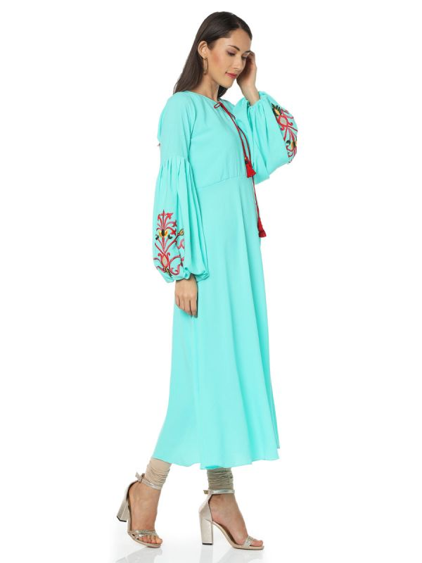Sky Blue Colour Georgette Casual Kurti With Balloon Sleeves