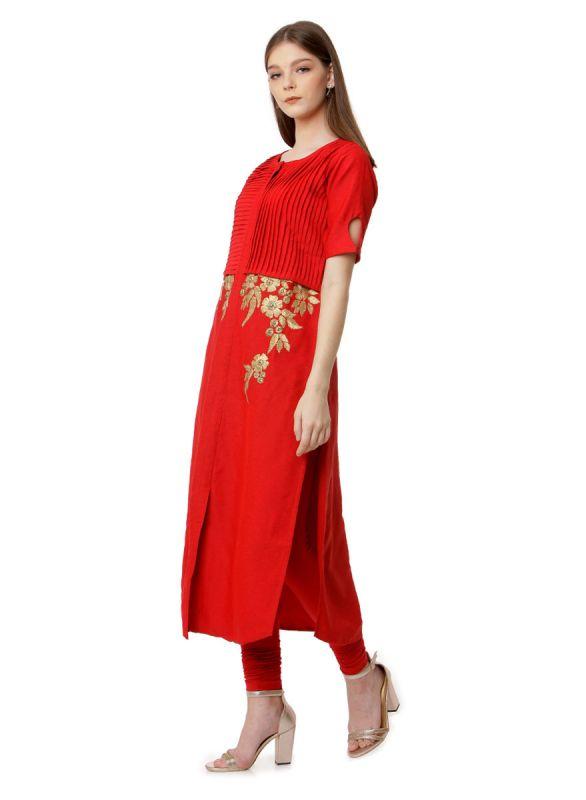 Blood Red Colour Cotton Silk Kurti With Pintex & Zari Work