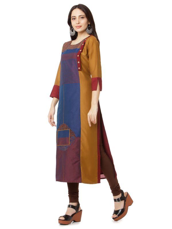 Copper & Burgendy Colour Embroidery Multicolour Strips Straight Kurti